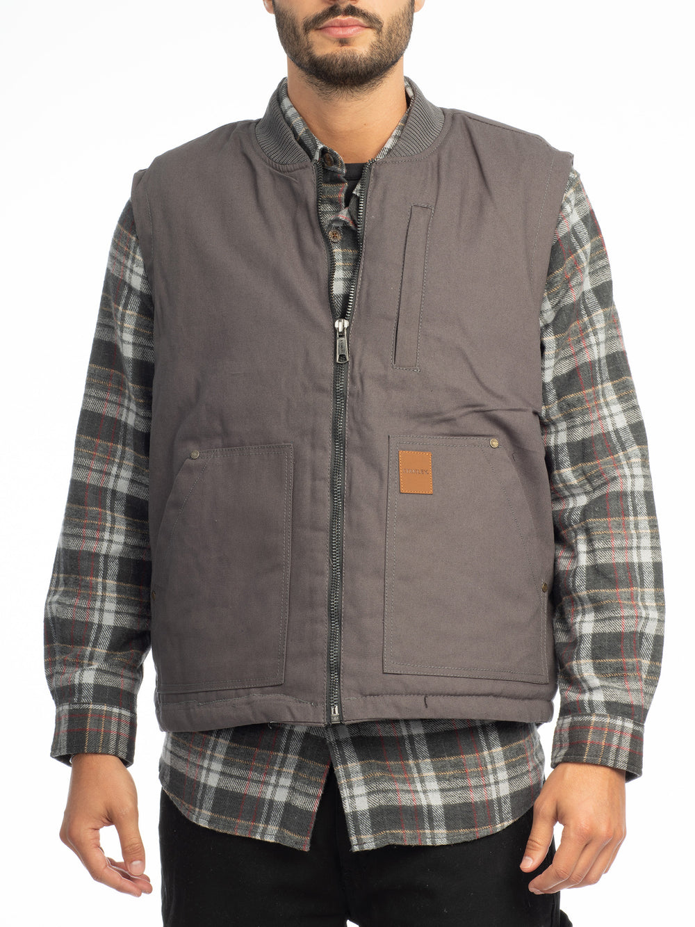 Canvas Zip Front Vest with Faux Sherpa Lining