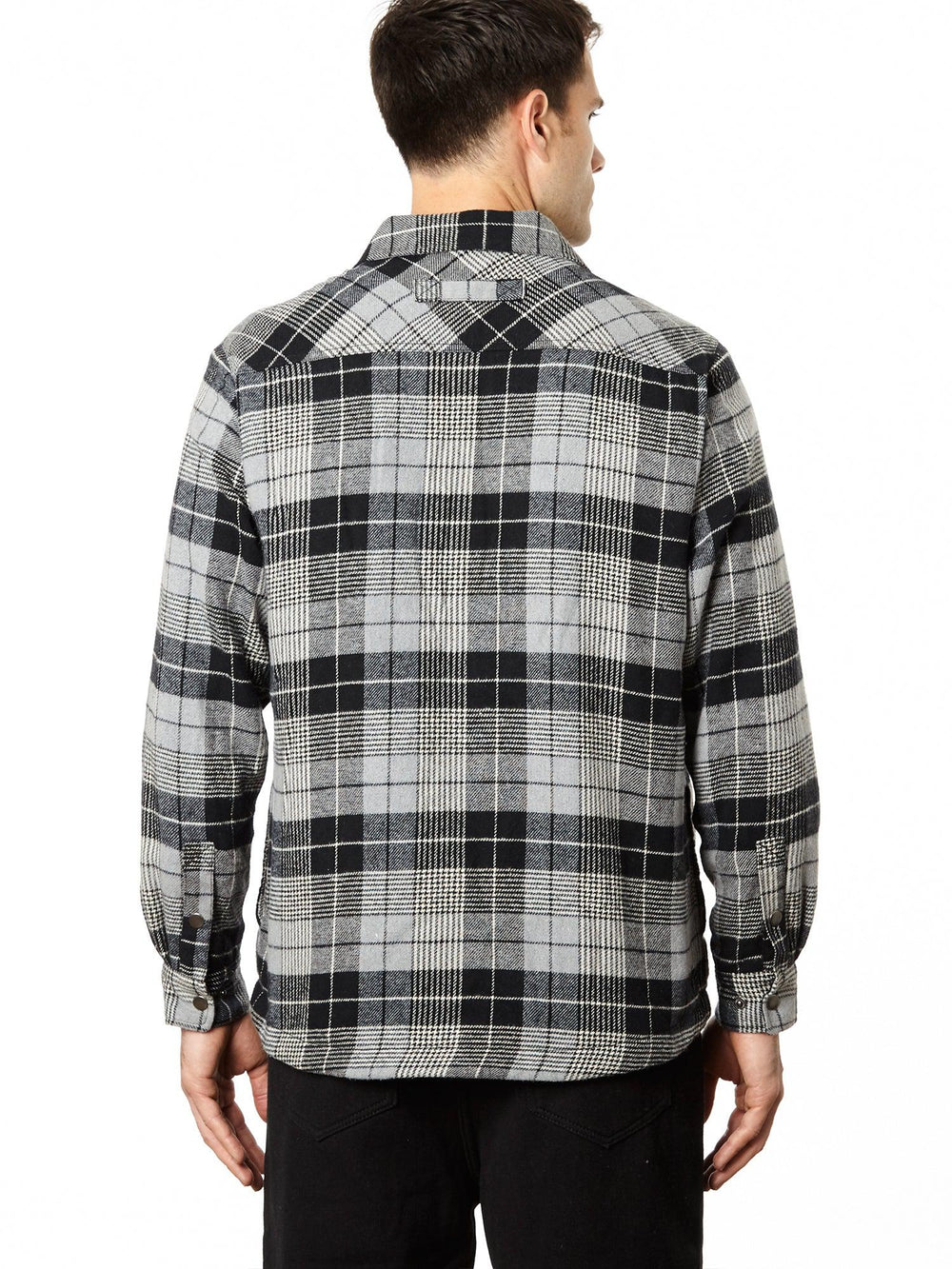 Snap Front Fleece Lined Flannel Shirt Jacket