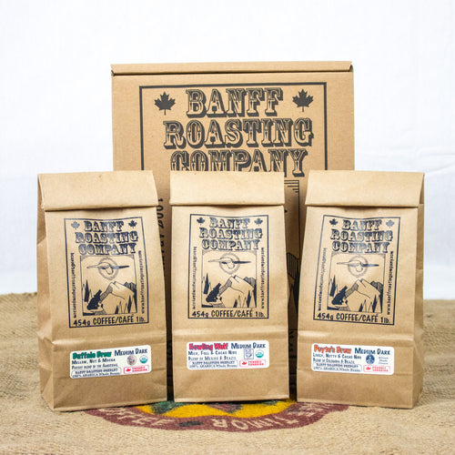 BOX: 3 Blends of Medium Darks. (Buffalo, Howling Wolf & Peyto) - Banff Roasting Company Ltd.