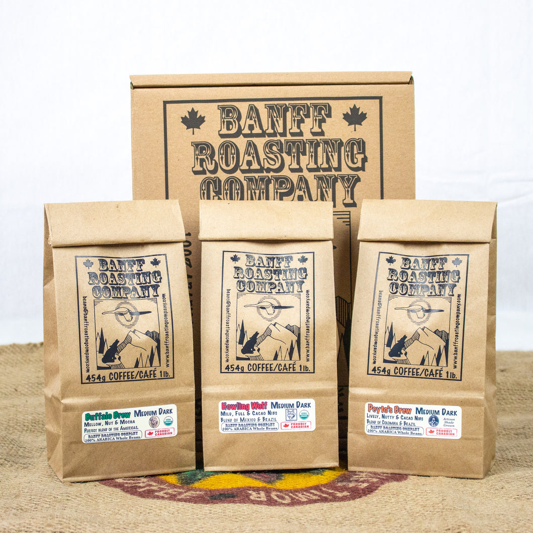 BOX: 3 Blends (Medium / Dark) - Banff Roasting Company Ltd.