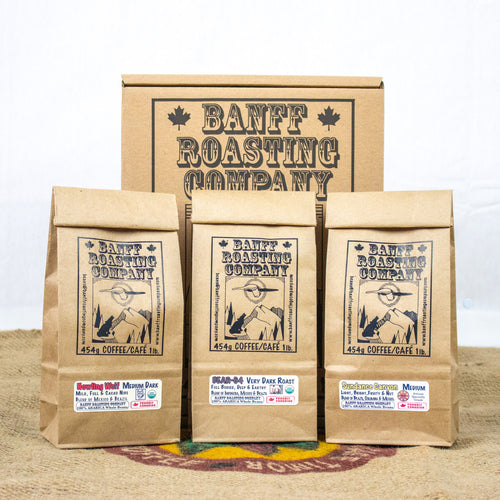 BOX: 3 Blends of 3 Roasts (Sundance Canyon, Howling Wolf, Bear 64 - Banff Roasting Company Ltd.