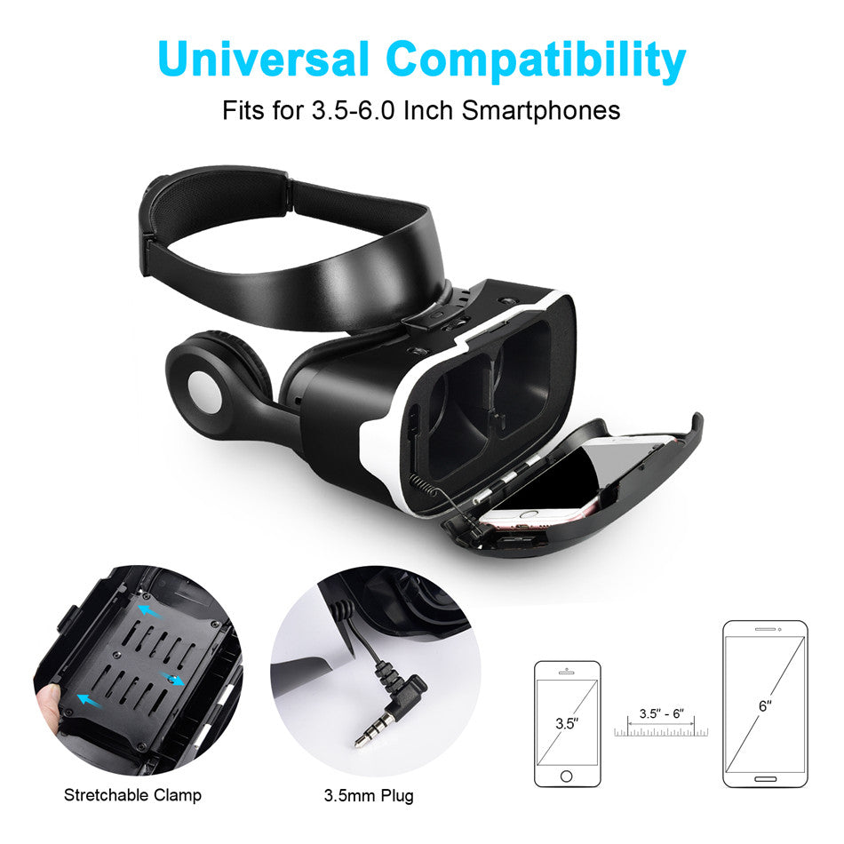 3D Virtual Reality Helmet VR Glasses Cardboard Headset Version for 3.5''-6.0'' for Samsung S8 Android Phones - Spinner-Gadget