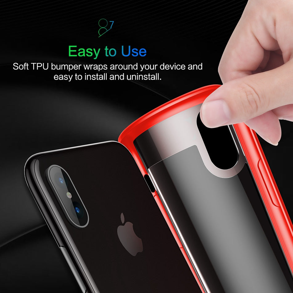 For iPhone X Case, ROCK Slim Full Protective PC & TPU Silicone Cover Case for iPhone X