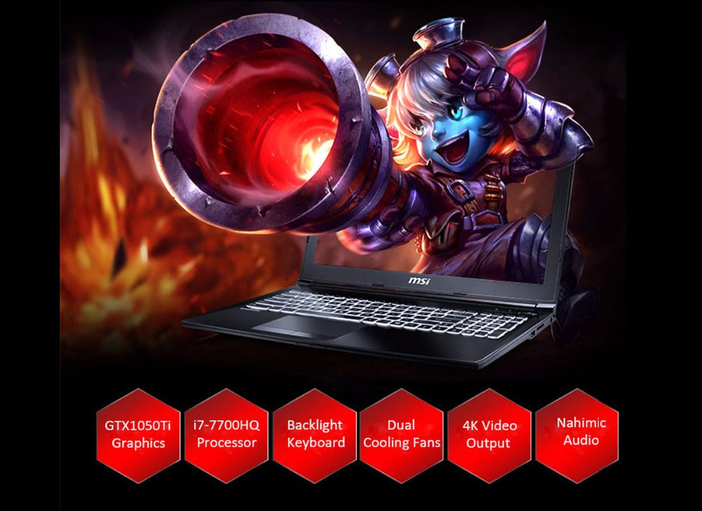 MSI GL62M 7REX-1252CN Gaming Laptop 15.6 inch Windows 10 Home Intel Core i7-7700HQ Quad Core 2.8GHz 8GB RAM 1TB HDD HDMI Type-C - Spinner-Gadget
