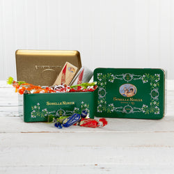 Assorted Torrone and Torroncini in Green Vingtage Tin - 7.05 oz
