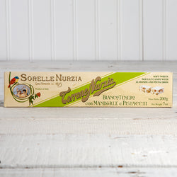 Soft White Nougat Torrone with Almonds and Pistachios - 7 oz