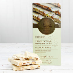 White Chocolate Bar with Salted Pistachios, Hazelnuts and Almonds - 3.52 oz