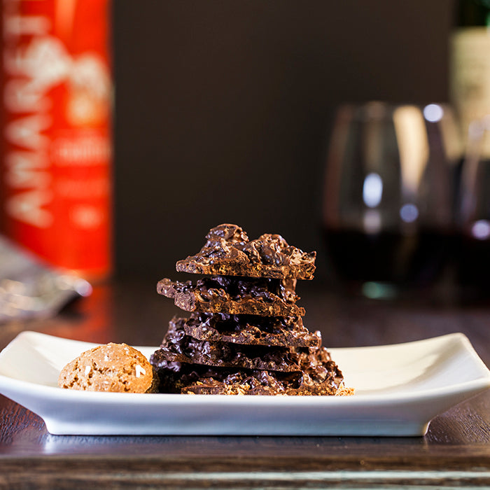 Dark Chocolate Amaretti Cookie Crumble Bark
