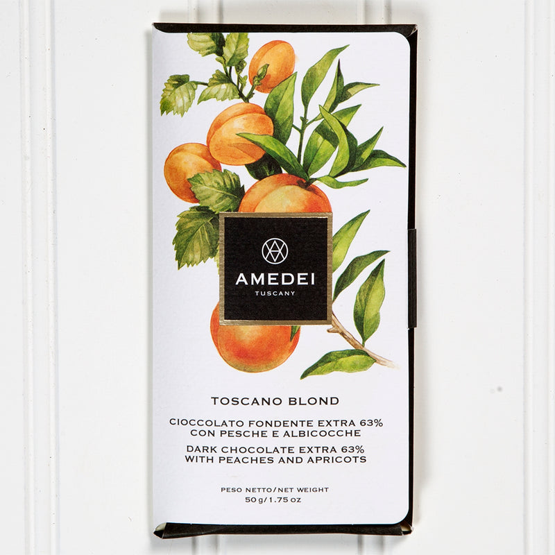 63% Dark Chocolate with Peaches and Apricots Bar - 50gr