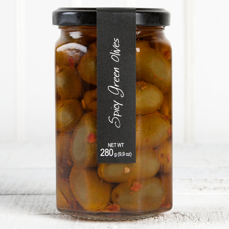 Spicy Green Olives in Oil - 9oz