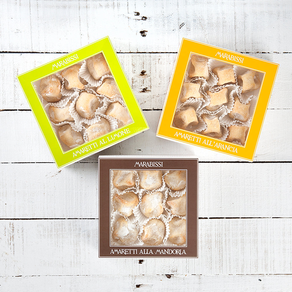 Soft Tuscan Amaretti Trio Gift Box (Traditional Almond, Lemon & Orange)