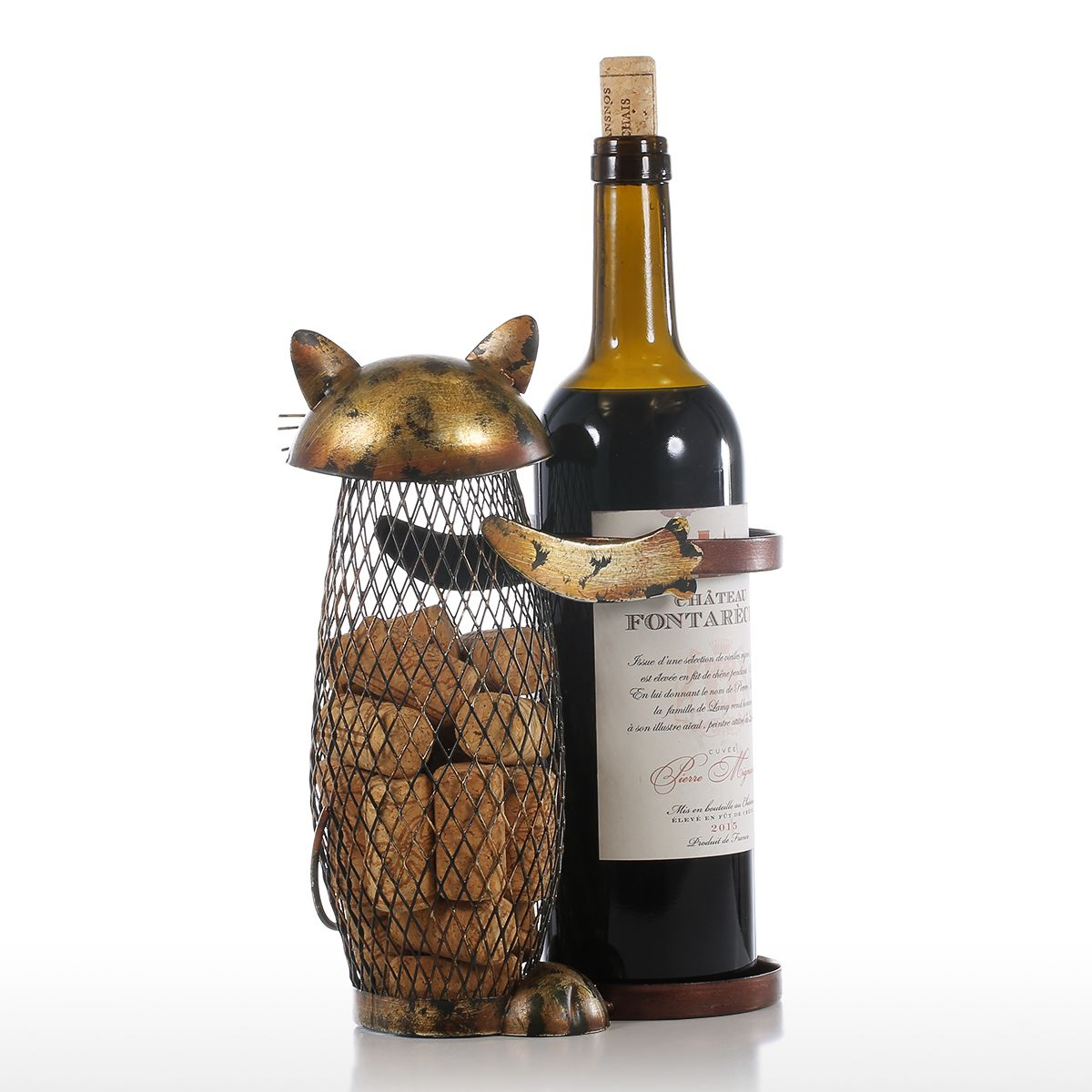 Cat Wine Rack With Cork Container