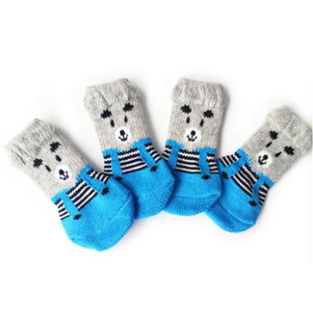 Cute 4 pcs/set Indoor Pet Socks Soft