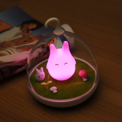 Totoro Pink LED Lamp - Glowing Bright At Night