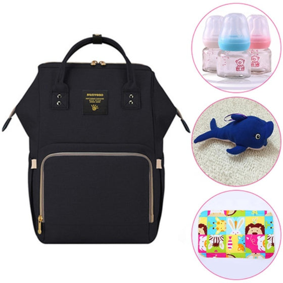 4 in 1 - Nappy Backpack, Baby Bottles, stuffed Toy, Changing Mat Sheet