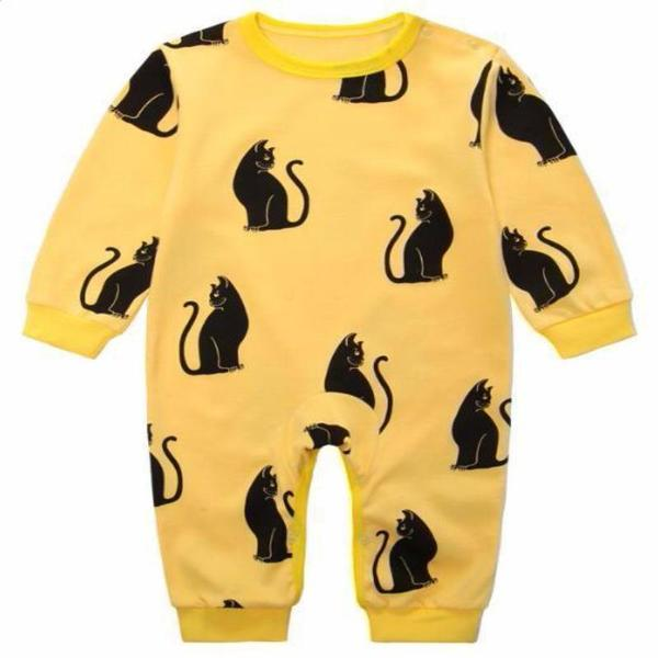 Yellow Cat Themed Baby Romper