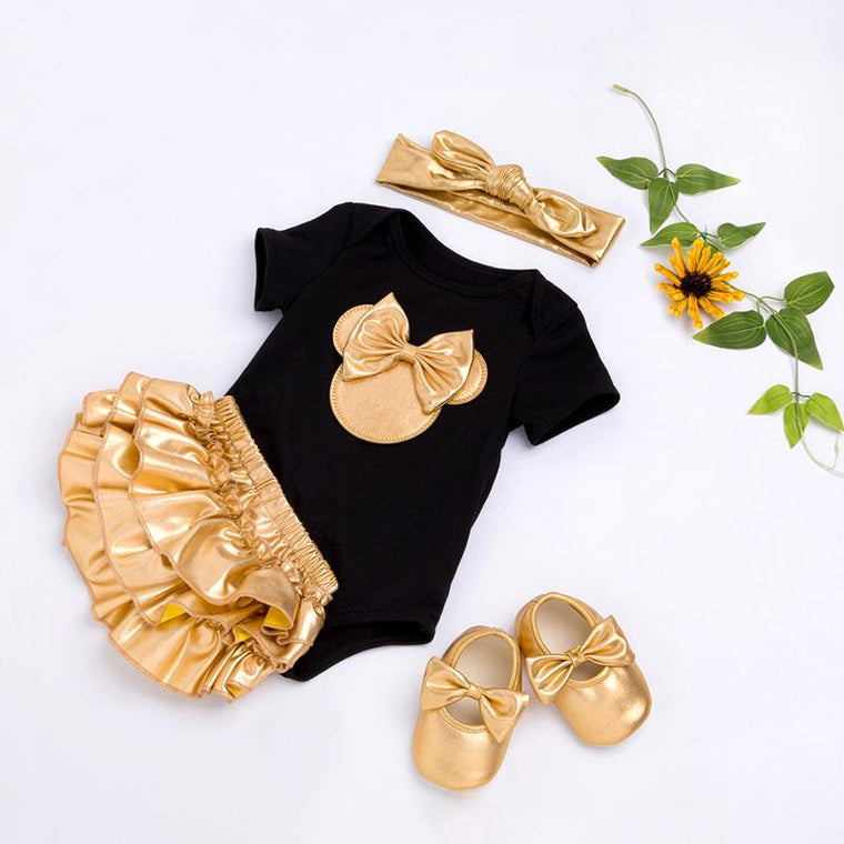 Baby Golden Clothes & Shoes Set - Bow On Shirt