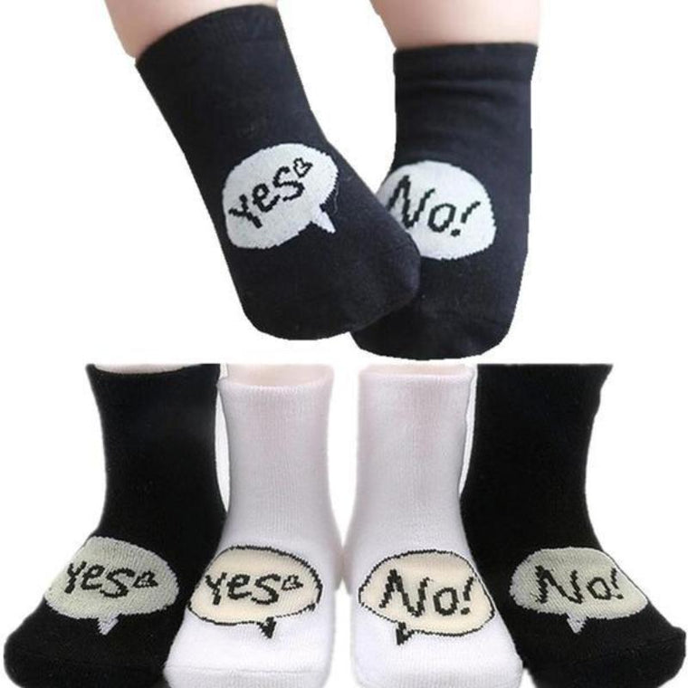 Black Cotton Yes or No Socks For Newborn