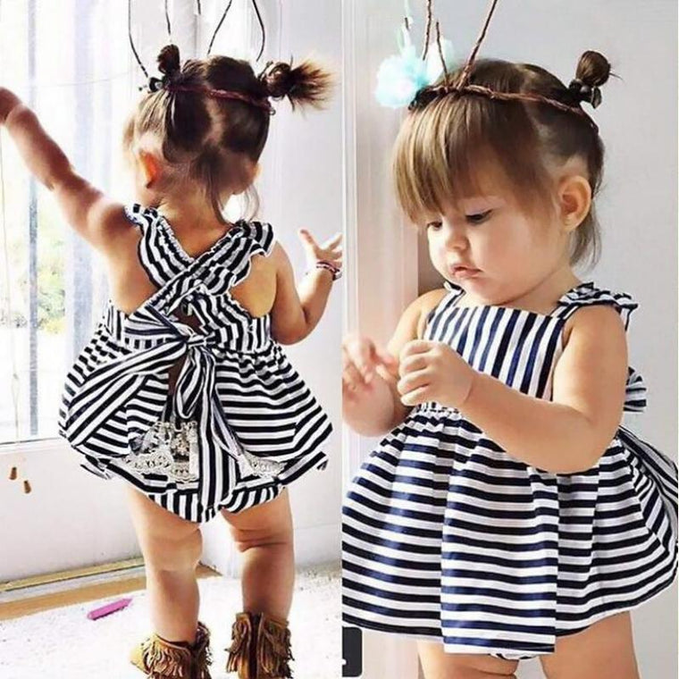 Black & White Baby Backless Bow Frock Dress