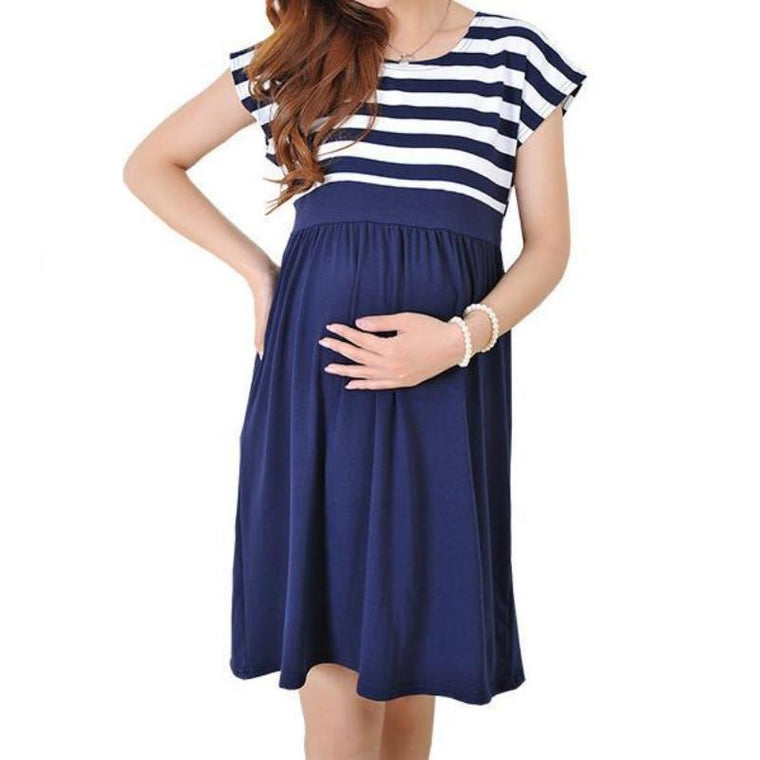 Blue And White Striped Maternity Cocktail Dress