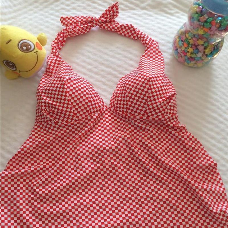 Checkered Maternity Swimwear