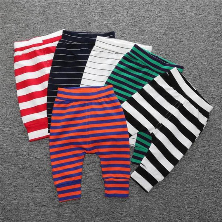 Striped Cotton Comfort Leggings For Babies