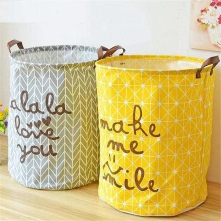 Cross Hatched Nursery Storage Laundry Basket