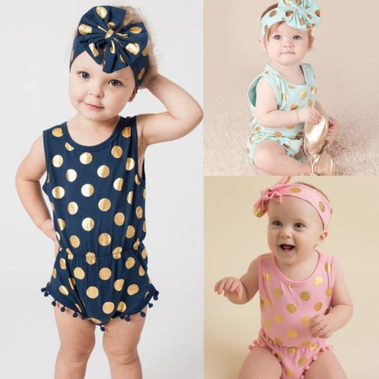 Polka Dot Baby Romper With Matching Bow