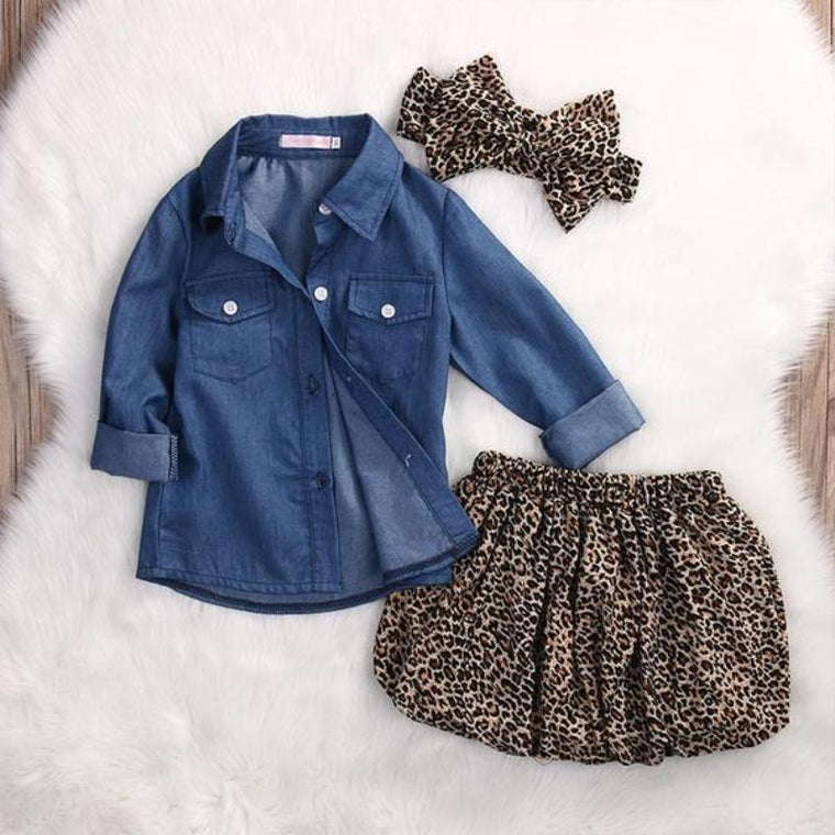 Denim Shirt Leopard Printed Skirt & Bow For Baby Girls