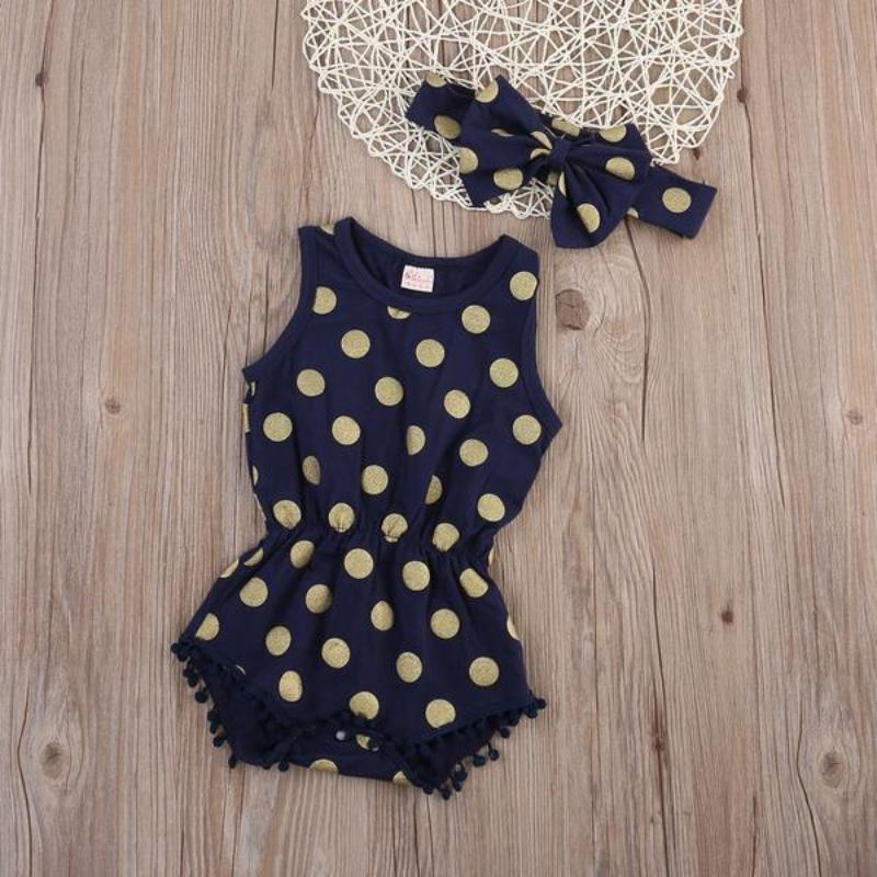 6df3f47a9 Polka Dot Baby Romper With Matching Bow - Dark Blue Color ...