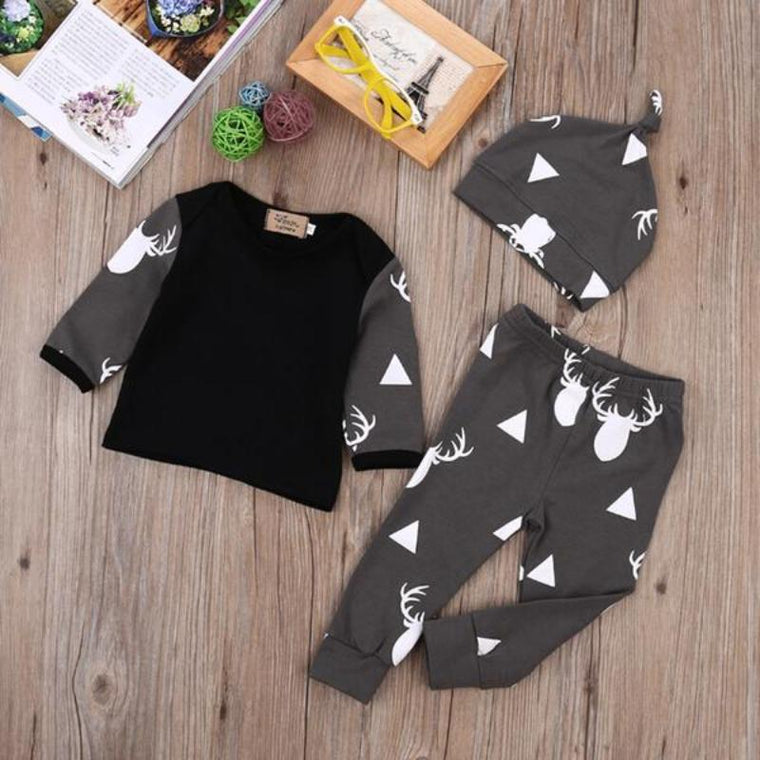 Deer Printed 3-Piece Outfit For Baby Boys