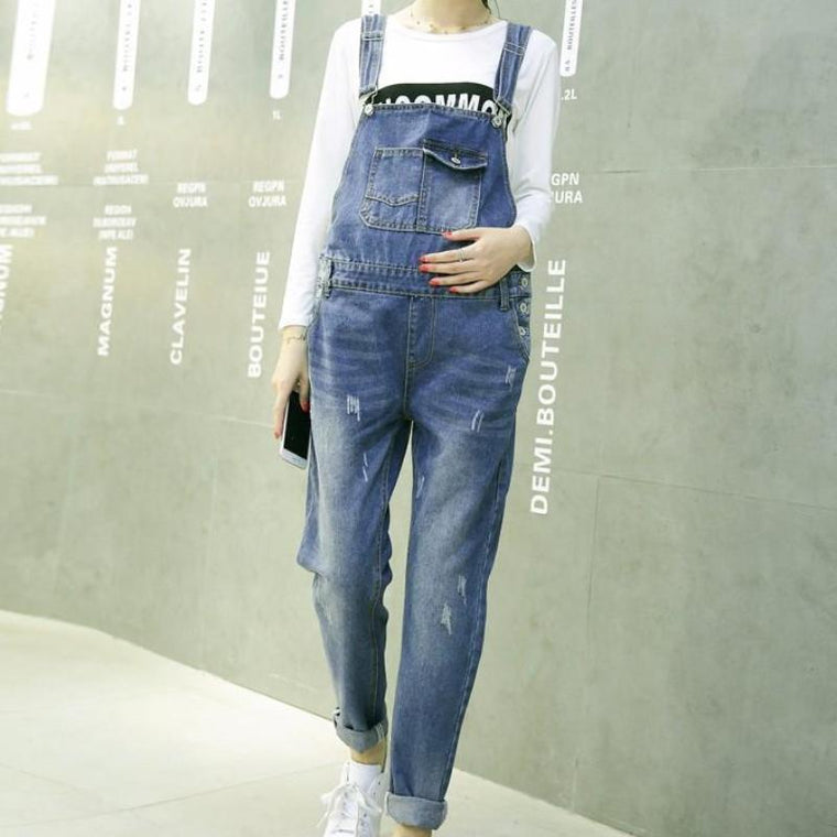 Denim Jeans Ripped Maternity Overall