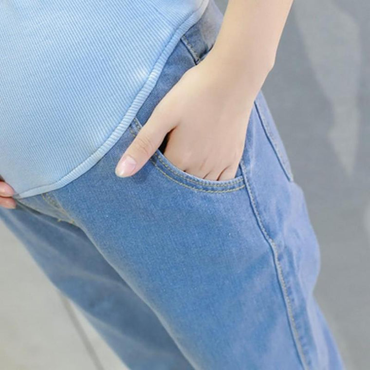 Elastic Waist Maternity Loose Fit Jeans