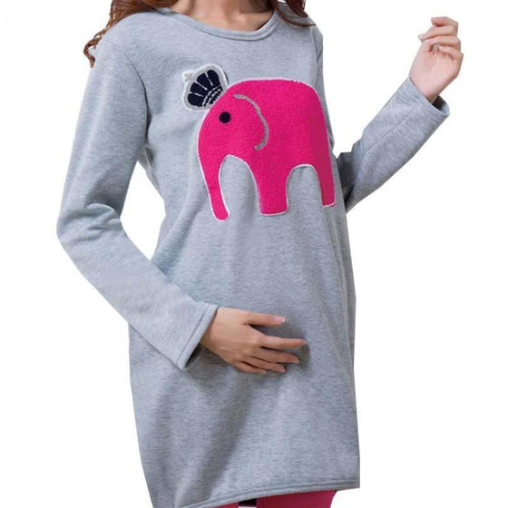 Elephant Embroidered Cute Maternity Tunic