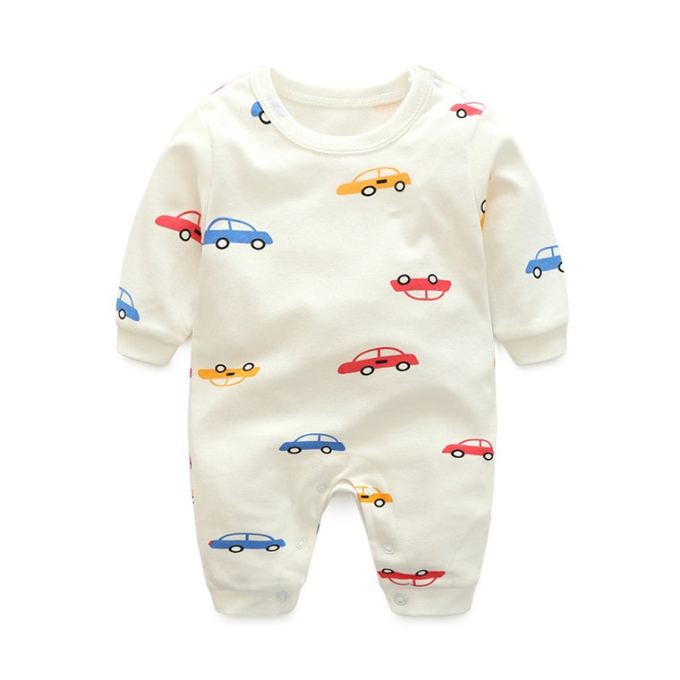 White Car Themed Baby Romper