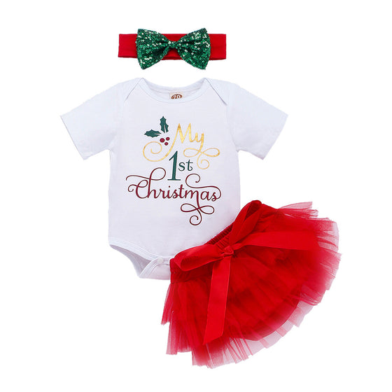 My First Christmas Girl Set 3PCS new born baby girl clothes Lovely Christmas Letter Romper+TuTu Dance Skirt+Hairband Outfits set