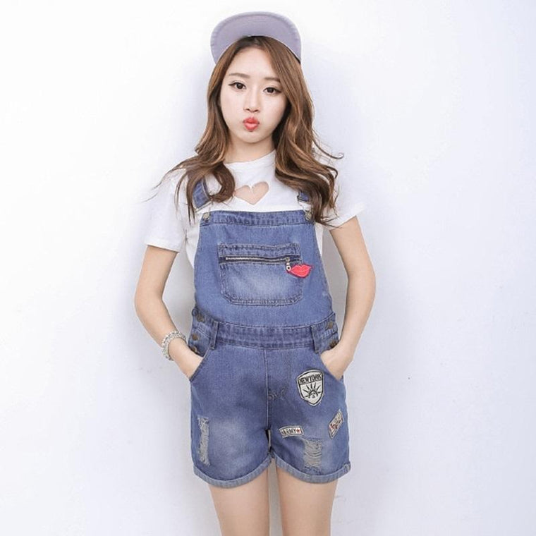 Pregnant Women Washed Short Jeans Jumpsuit