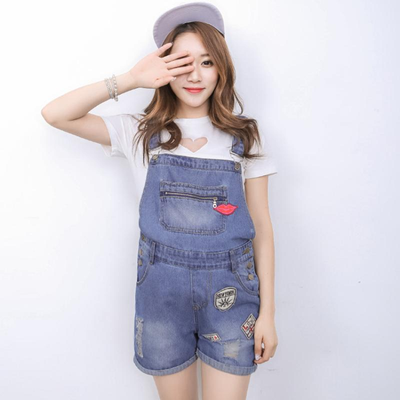add769ba792 Pregnant Women Washed Short Jeans Jumpsuit