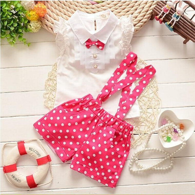 Red & White Polka Dress For Baby Girl With Bow
