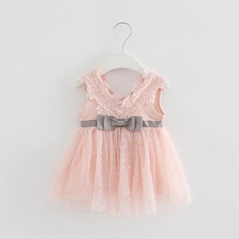 V-Neck Lace Frock for Baby Girls