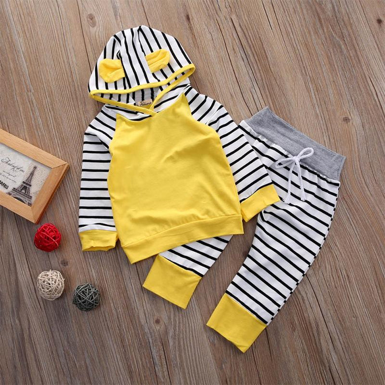 Yellow/Black Lined Baby 2 Piece Outfit