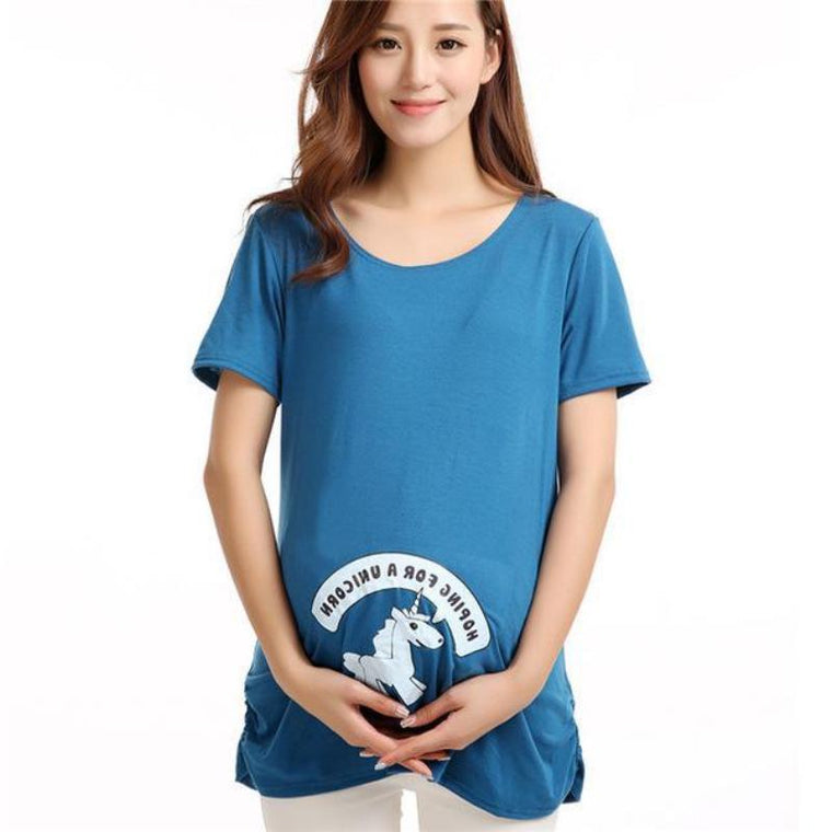 Cute Blue Unicorn Maternity T Shirt
