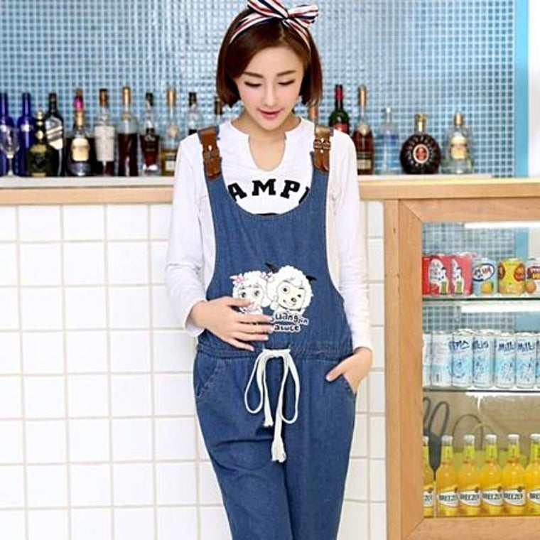 Denim Maternity Short Jumpsuit