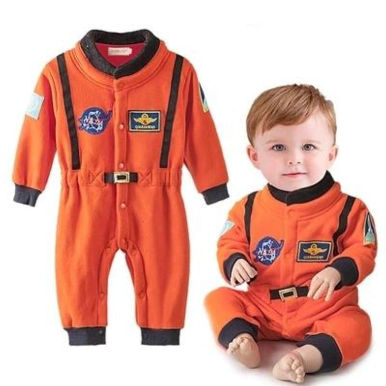 stylesilove Baby Toddler Boy Orange Astronaut Fleece Costume Jumpsuit