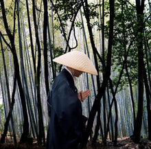 Buddhist monk in bamboo forest, Kyoto, Japan. Detail of limited edition print by Kerry Editions