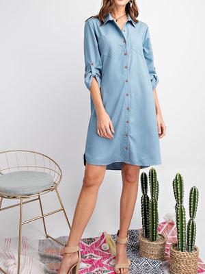 Easy Like Sunday Morning Chambray Dress