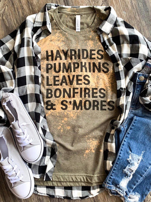 Hayrides Pumpkin Leaves Bonfires & S'mores Graphic Tee