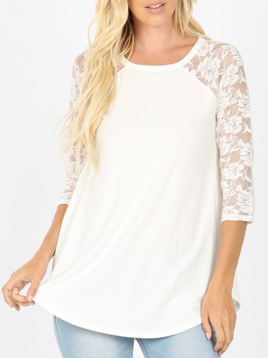 Lace Sleeve Raglan Top