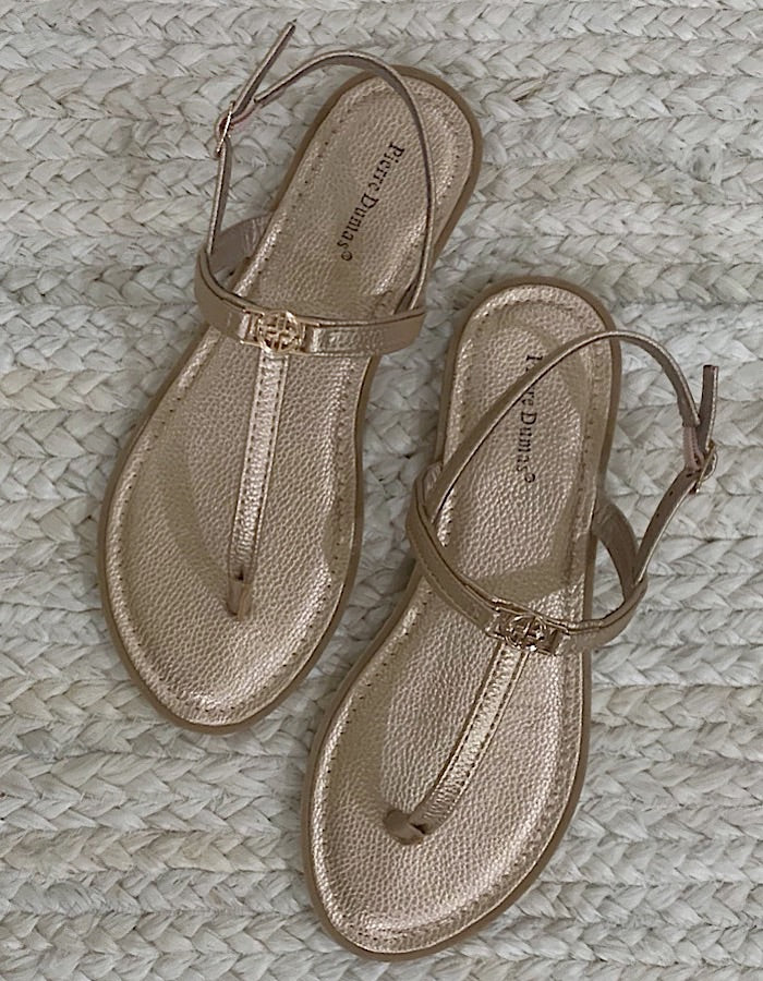 Emma Flat Thong Sandals - Rose Gold