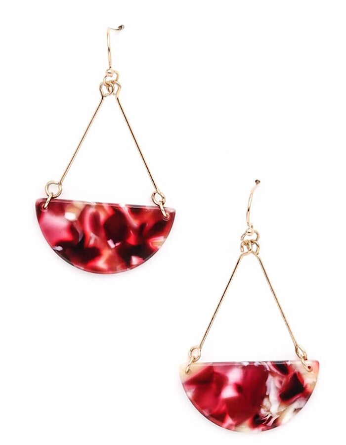 Semi Circle Acrylic Earrings - Burgundy